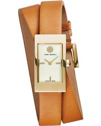 Tory Burch | Buddy Signature Goldtone Stainless Steel & Leather Double-wrap Strap Watch/brown | Lyst