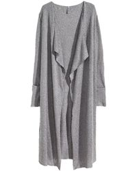H&M Gray Fine-Knit Cardigan - Lyst
