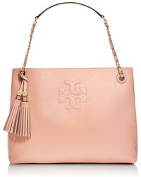 Tory Burch Thea Patent Chain Shoulder Slouchy Tote - Lyst