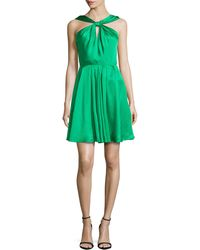 Halston Heritage Satin Knot-front Dress - Lyst