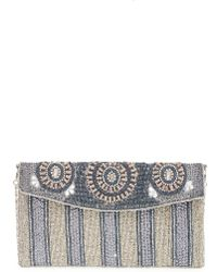 Big Buddha - Beaded Stripe Flap Clutch - Metallic - Lyst