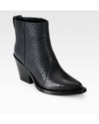 Acne Studios Donna Leather Cowboy Booties - Lyst