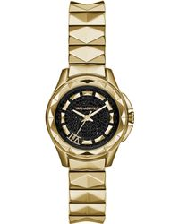 Karl Lagerfeld Womens Karl 7 Gold Ion-plated Stainless Steel Studded Bracelet Watch 30mm - Lyst