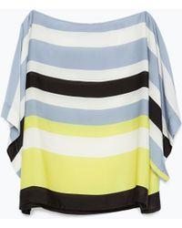 Zara Striped Top blue - Lyst