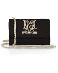 Love Moschino Quilted Faux-Leather Tech Wallet With Chain - Lyst