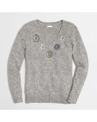 J.Crew Factory Jeweled Donegal Sweater - Lyst