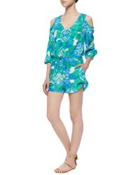 Alice & Trixie - 3/4-sleeve Cold-shoulder Printed Short Jumpsuit - Lyst
