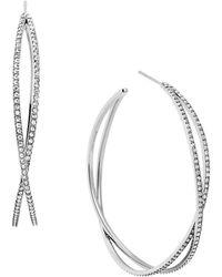 Michael Kors Glitz And Silvertone Criss Cross Hoop Earrings silver - Lyst