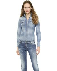 DSquared2 Western Denim Shirt - Blue - Lyst
