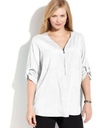 Zip Front Blouse White 59