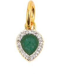 Monica Vinader - Gold Vermeil Diamond And Aventurine Diva Mini Lotus Pendant - Lyst