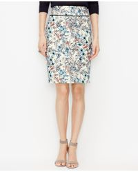 Ann Taylor Botanic Pencil Skirt blue - Lyst