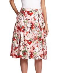 Carolina Herrera Bouquet Pleated Skirt - Lyst