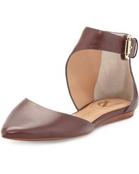 Vince Camuto Signature - Cammie Leather Ankle-Wrap Flat - Lyst