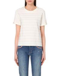 Maje Torino Striped Cotton-Jersey T-Shirt - For Women, Ecru (Beige) - Lyst