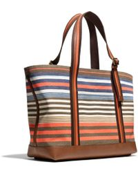 Coach Bleecker Beach Tote in Striped Canvas - Lyst