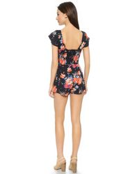 House of Harlow 1960 - Fernando Bow Front Romper - Laurence Print - Lyst