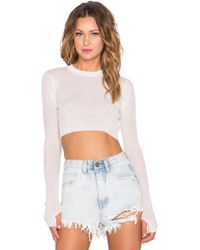 UNIF Dial Long Sleeve Crop Top - White