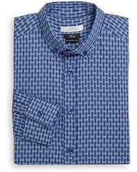 Versace Trend-fit Geometric Print Cotton Dress Shirts - Lyst
