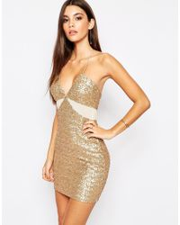 TFNC | Allover Sequin Mini Dress With Cut Out Mesh Details | Lyst