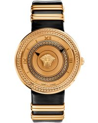 Versace Ladies V-icon Rose Gold-tone and Black Watch - Lyst