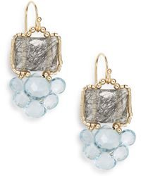 Eva Hanusova - Multigem Luv Black Quartz, Blue Topaz & Aquamarine Drop Earrings/goldtone - Lyst