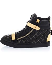 Giuseppe Zanotti Black Amazon Quilt Gold Leather Trainers - Lyst
