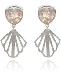 Anna Byers - Rose Quartz And Silver Earrings - Lyst