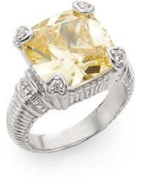 Judith Ripka | Fontaine Canary Crystal, Diamond & Sterling Silver Ring | Lyst