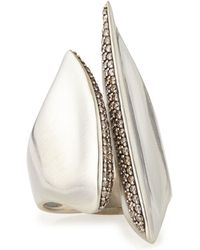 Alexis Bittar Fine - Silver Sculptural Cleaved Ring With Diamonds - Lyst