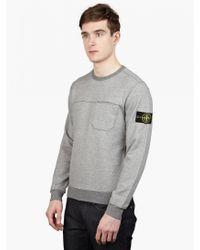 Stone Island Men'S Grey Cotton Sweatshirt - Lyst