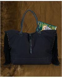 Denim & Supply Ralph Lauren - Fringed Leathertrim Canvas Tote - Lyst