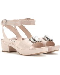 Miu Miu Embellished Patent Leather Sandals - Lyst
