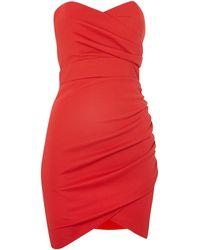 Tfnc Strapless Wrap Front Bodycon Dress - Lyst
