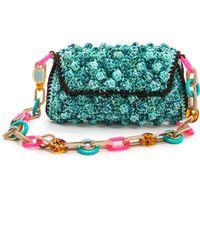 M Missoni Melange Raffia Shoulder Bag - Blue