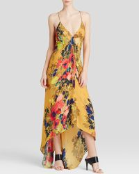 Nicole Miller Maxi Dress - Angelina Satin Printed High/Low Hem yellow - Lyst