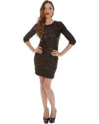 Alexia Admor Crinkled Three Quarter Sleeve Dress - Lyst