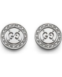 Gucci Icon Twirl 18Ct White-Gold And Diamond Stud Earrings - For Women silver - Lyst