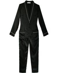 Fleur du Mal Silk Pajama Jumpsuit - Lyst
