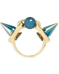 Joomi Lim 'dynamic Duo' Spike Sphere Ring - Blue