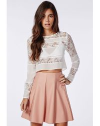 Missguided Lace Panel Blouse White - Lyst