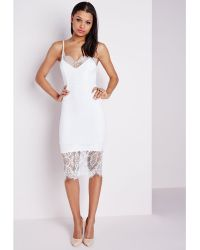 Missguided Eye Lash Lace Bodycon Dress White - Lyst