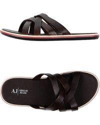 Armani Jeans Sandals brown - Lyst
