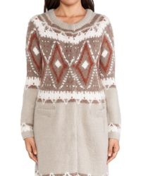 Free People Frosted Fairisle Cardigan - Lyst