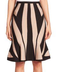 Hervé Léger Contrast Flutter Skirt black - Lyst