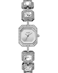 Guess Womens Crystal Accent Silver-tone Bracelet Watch 24x21mm - Lyst