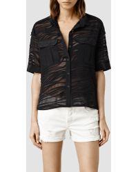AllSaints Tonwen Cropped Shirt - Lyst