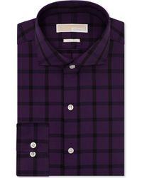 Michael Kors Michael Non-iron Eggplant Check Dress Shirt - Lyst