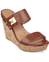 Tommy Hilfiger Women'S Madasen Platform Wedge Sandals - Lyst