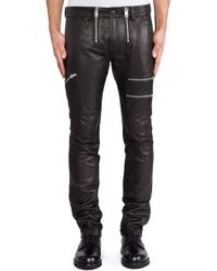 Diesel Zipps Leather Pant - Lyst